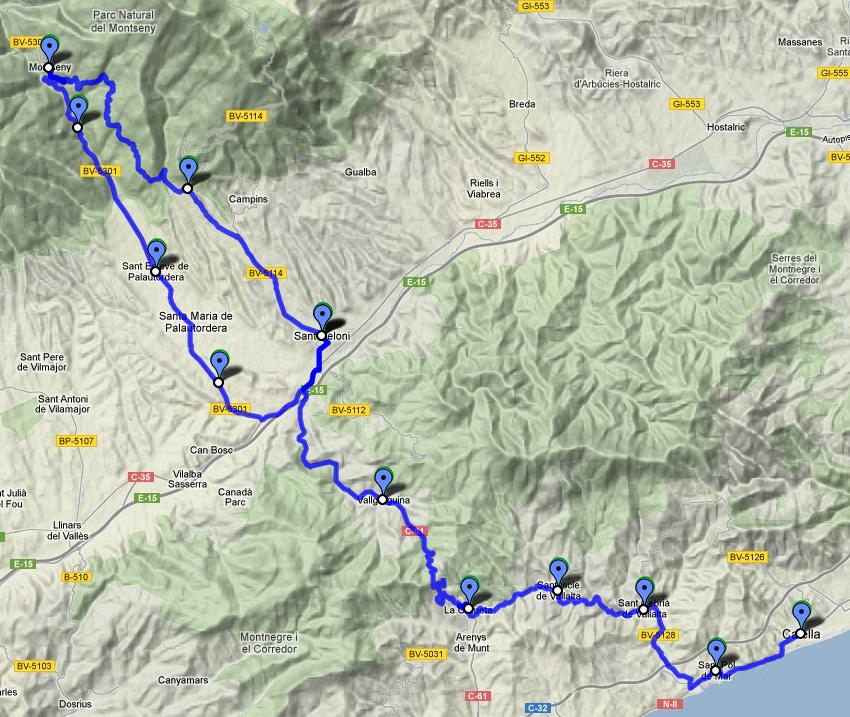 Els ciclistes hauran de superar les exigents rampes d'accés a la Costa del Montseny, algunes amb desnivells del 7%. Font: carlespascual.cat