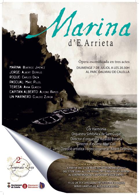 Cartell de l'Òpera Marina. Segona Temporada Lírica Ciutat de Calella