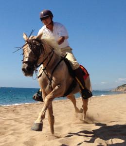 Els pura sang anglesos per la platja de Calella, durant la Fira 2013. Foto: carlespacual.cat