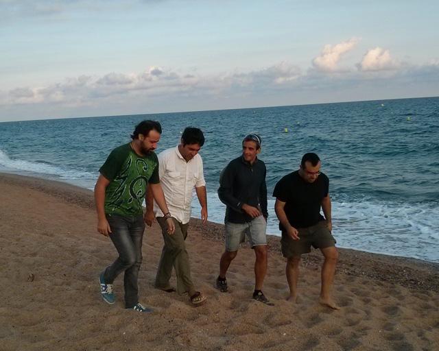 D'esquerra a dreta. Quim Fàbregas, fotògraf; Carles Pascual, periodista; Xavier Casillanis, imatge i realització; i Jordi Verdura, comunicació digital.