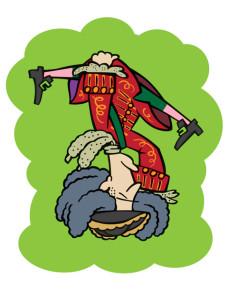 Felip V, cap per avall, tal com figura al Museu de l'Almodí de Xàtiva. Disseny: Xavier Càliz
