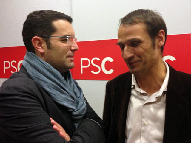Josep Maria Juhé ha coincidit amb Xavier Amor, president de la Federació de Municipis i alcalde de Pineda. Foto: carlespascual.cat