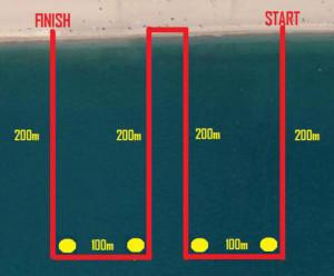 Circuit de la natació, per a la triatló cross. Foto: Calella Trail
