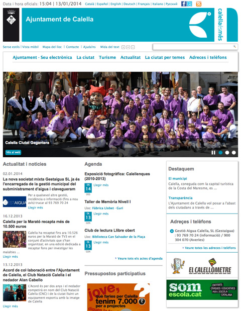 El nou web de l'Ajuntament de Calella.