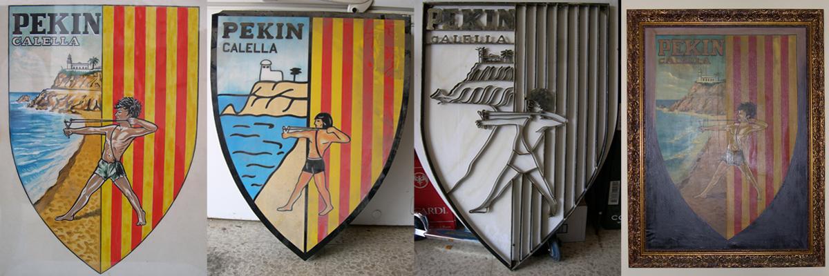 Els 4 escuts del Barri de Pekín a què ha tingut accés infocalella. D'esquerra a dreta: l'original, dues reproduccions de l'antiga Pensió El Pekinaire i el de l'Associació, Gent del Barri. Foto: carlespascual.cat