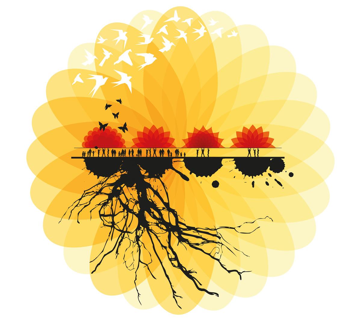 """Il.lustració de la Fira de Calella i l'Alt Maresme """"Catalunya, les arrels d'un país únic"""". Obra de Carme Guri, dissenyadora gràfica"""