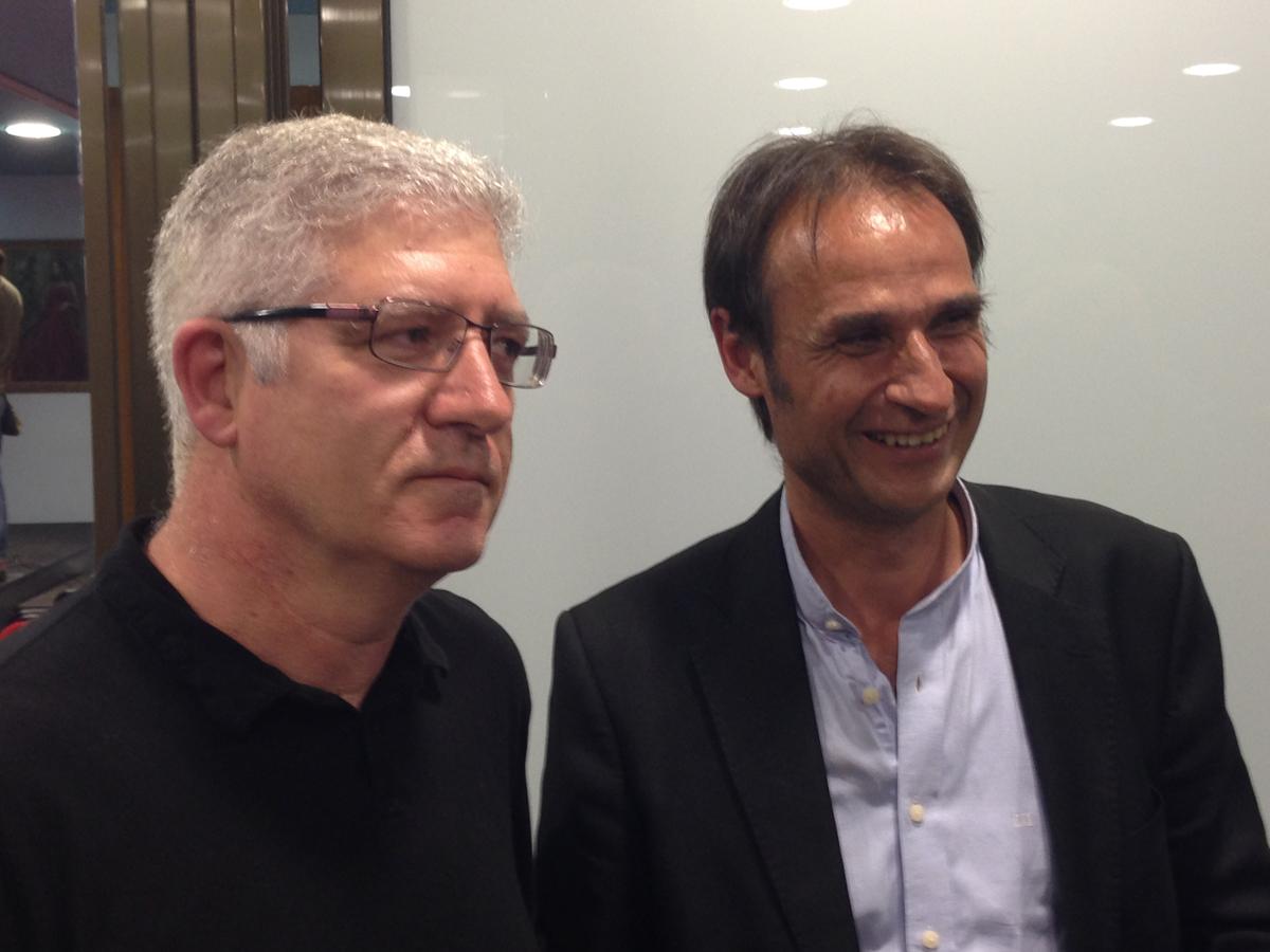 Sebastià Tejada i Josep Maria Juhé van coincidir a l'acte de presentació de l'alcaldable per ICV. Foto: carlespascual.cat