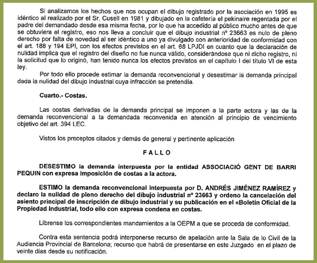 Dictamen de la sentència emesa per la jutge del Mercantil número 8 de Barcelona