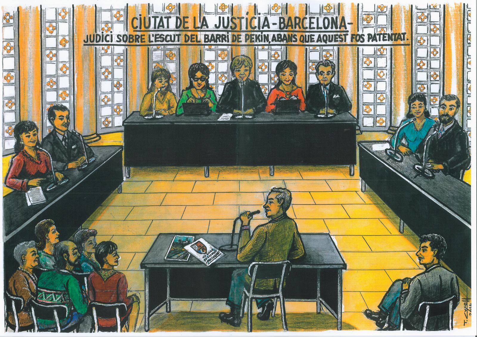 Il·lustració de Tomàs Cusell del judici per la propietat de l'escut del barri de Pekín de Calella. Foto: Tomàs Cusell