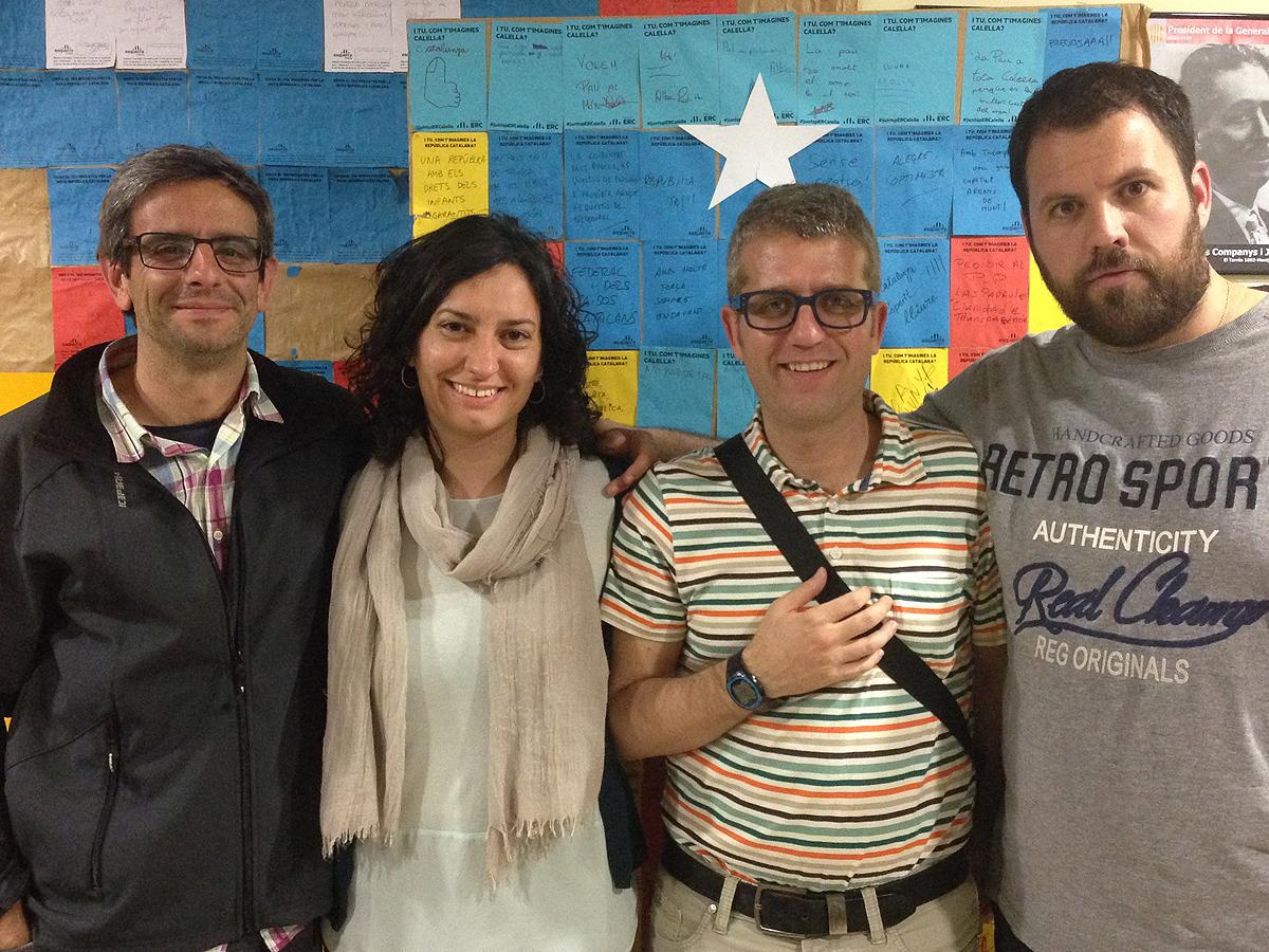 Xavier Casillanis, Cristina Gómez, Carles Ferrer i Àngel Badalló, els 4 regidors d'ERC que representaran el partit al consistori. Foto: carlespascual.cat